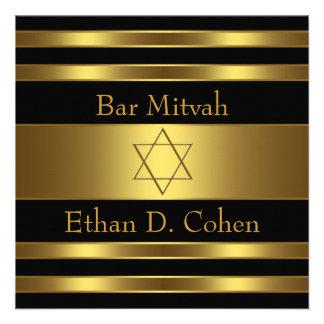 Barre noire Mitzvah d étoile de David d or Cartons D'invitation