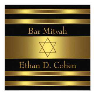 Barre noire Mitzvah d'étoile de David d'or Carton D'invitation 13,33 Cm