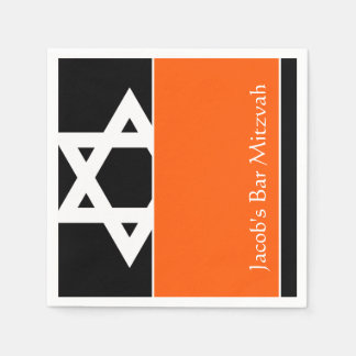 Barre orange et noire Mitzvah d'étoile de David Serviettes Jetables