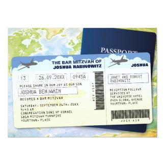 Barre ou bat mitzvah de documents de voyage carton d'invitation  13,97 cm x 19,05 cm