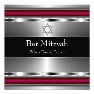 Barre rouge noire Mitzvah d étoile de David Invitation