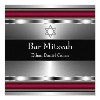 Barre rouge noire Mitzvah d'étoile de David Carton D'invitation 13,33 Cm