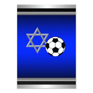 Barre royale Mitzvah de thème du football de bleu Carton D'invitation 8,89 Cm X 12,70 Cm