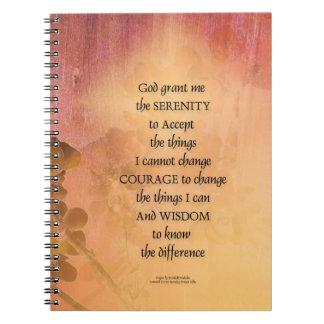 Barrière une de coing de prière de sérénité carnet à spirale