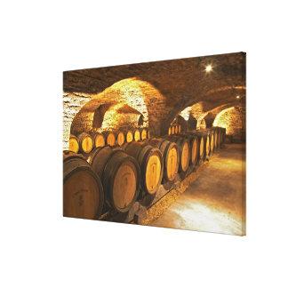 Barrles de chêne dans la cave chez Domaine Comte Toiles