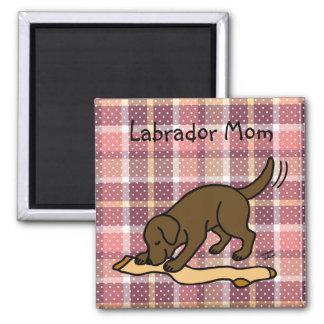 Bas de Labrador de chocolat Magnet Carré