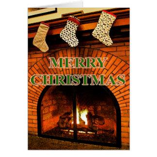 bas de Noël et carte de cheminée