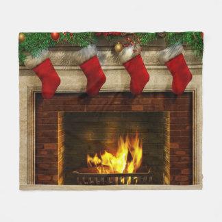Bas de Noël et couverture d'ouatine de cheminée