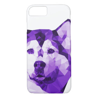 Bas poly art de chien de traîneau sibérien dans le coque iPhone 8/7