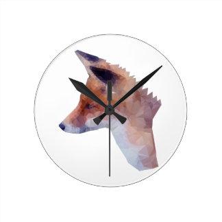 Bas poly Fox Horloge Ronde