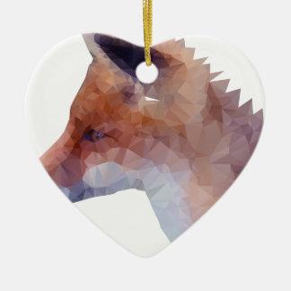 Bas poly Fox Ornement Cœur En Céramique