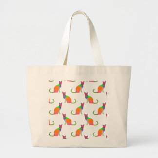 Bas poly motif de silhouette de chat grand tote bag
