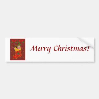 Bas rouge de Noël Autocollant De Voiture