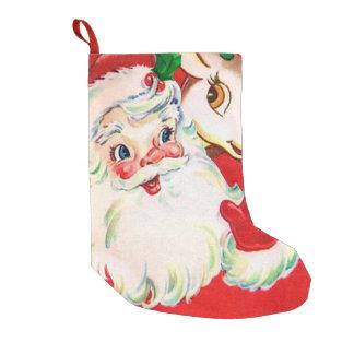 Bas vintage de décor de renne de Père Noël de Noël Petite Chaussette De Noël