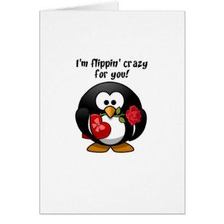 Basculement fou pour vous pingouin de carte de vœux