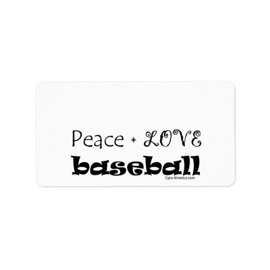 Base-ball d'amour de paix étiquette d'adresse