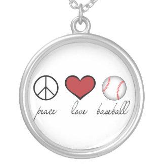Base-ball d'amour de paix pendentif rond