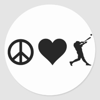 Base-ball d'amour de paix sticker rond