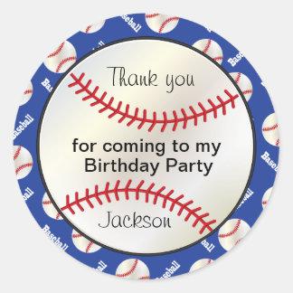 Base-ball de fête d'anniversaire dans bleu-foncé - sticker rond