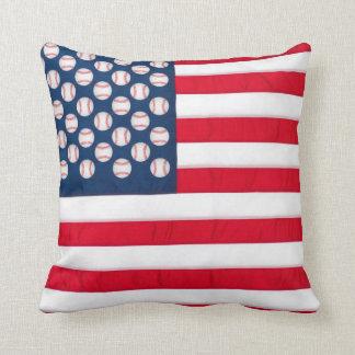 Base-ball et coussin de drapeau américain