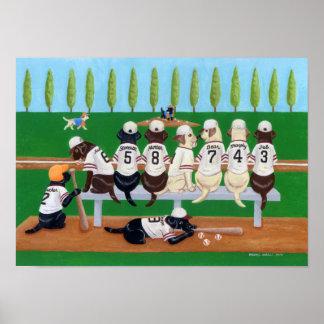 Base-ball Labradors Poster