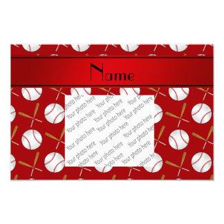 Base-ball rouges nommés personnalisés de battes en tirages photo