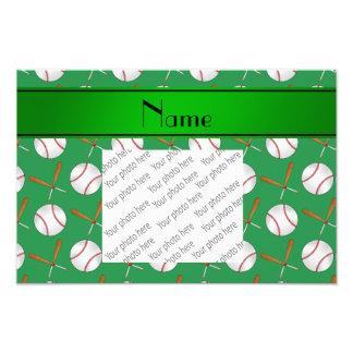Base-ball verts nommés personnalisés de battes en photos