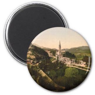 Basilique de Notre Dame, Lourdes, France Magnet Rond 8 Cm