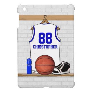 Basket-ball blanc et bleu personnalisé Jersey Coque iPad Mini