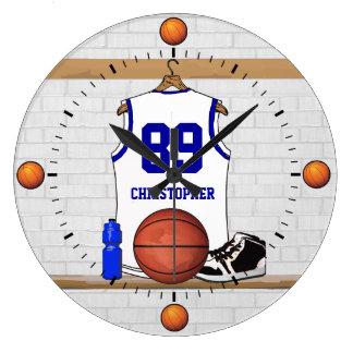Basket-ball blanc et bleu personnalisé Jersey Grande Horloge Ronde