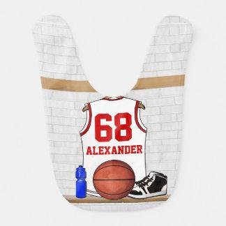 Basket-ball blanc et rouge personnalisé Jersey Bavoir De Bébé
