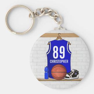 Basket-ball bleu et blanc personnalisé Jersey Porte-clé Rond