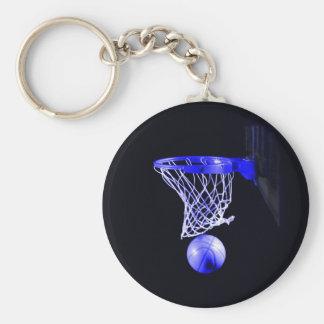 Basket-ball bleu porte-clé rond