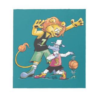 Basket-ball de lion et de moutons blocs notes