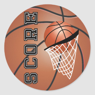 Basket-ball d'orange de Brown Sticker Rond