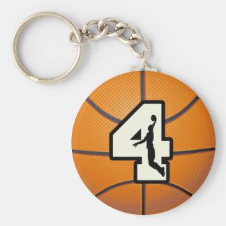 Basket-ball et joueur du numéro 4 porte-clé rond