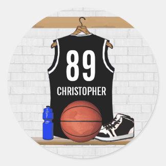 Basket-ball noir et blanc personnalisé Jersey Sticker Rond