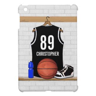Basket-ball noir et blanc personnalisé Jersey Étui iPad Mini