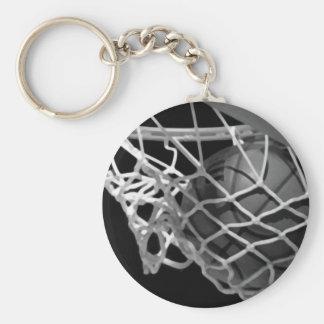 Basket-ball noir et blanc porte-clé rond