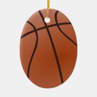 Basket-ball orange ornement ovale en céramique