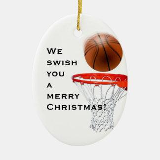 basket-ball personnalisé collectable ornement ovale en céramique