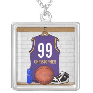 Basket-ball personnalisé Jersey de pourpre et d'or Pendentif Carré