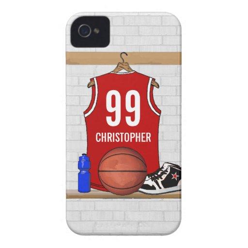 Basket-ball personnalisé Jersey (rouge) Étui iPhone 4
