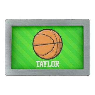 Basket-ball ; Rayures vertes au néon Boucles De Ceinture Rectangulaires