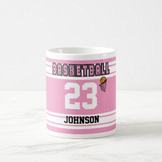 Basket-ball rose et blanc Jersey Mug Blanc