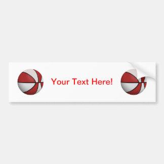 Basket-ball rouge et blanc : autocollant pour voiture