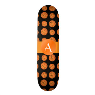 Basket-balls noirs de monogramme mini skateboard 18,4 cm