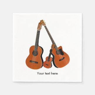 Basse acoustique et ukulélé de guitare folklorique serviette en papier