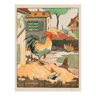 Basse cour de coq carte postale