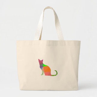 Basse poly silhouette de chat grand tote bag